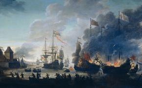 Обои море, масло, картина, бой, парус, баталия, Ян ван Лейден, Голландцы Жгут Английские Корабли