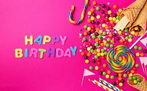 Обои день рождения, праздник, надпись, сладости