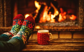 Картинка вечер, Новый Год, Рождество, чашка, носки, камин, Christmas, cup, Merry Christmas, Xmas, какао, fireplace, holiday …