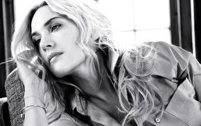 Картинка фото, макияж, актриса, прическа, блондинка, черно-белое, рубашка, Kate Winslet, Кейт Уинслет, InStyle, Giampaolo Sgura