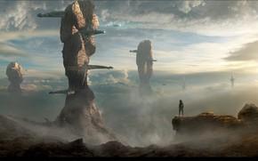 Картинка облака, горы, человек, сооружения, 090416 V5dt