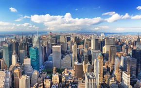 Картинка лето, город, здания, Нью-Йорк, размытость, Манхэттен, New York, Manhattan, высотки, боке, ясный день, красивый вид, …