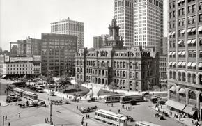 Картинка ретро, улица, дома, площадь, США, 1913-й год