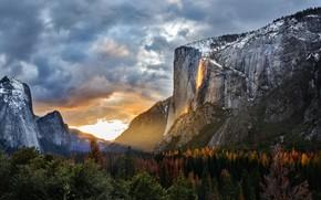 Картинка деревья, горы, восход