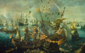 Обои парус, баталия, Взрыв Испанского Флагмана, Корнелис Клас ван Виринген, масло, холст, корабль, картина
