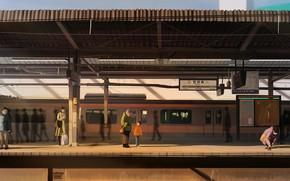 Картинка люди, поезд, станция