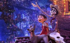 Картинка ночь, город, огни, мультфильм, гитара, собака, шляпа, мальчик, фэнтези, скелет, Disney, PIXAR, Coco, Тайна Коко, …
