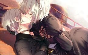 Обои nier automata, пара влюбленных, Nier: Automata, белые волосы, yorha unit no. 2 type b, черный ...