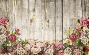 Картинка фон, розы, wood