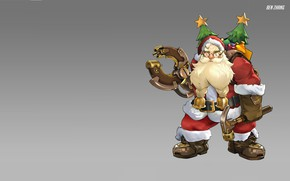 Картинка праздник, новый год, Санта Клаус, Ben Zhang, Santaclad Torbjörn skin concept