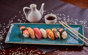 Картинка рыба, соус, суши, кунжут