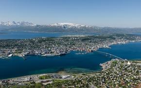 Обои Норвегия, Norway, мост, панорама, Tromso