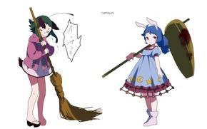 Картинка хвост, белый фон, метла, ушки, touhou, голубые волосы, art, Touhou Project, Seiran, Проект Восток, Namauni, ...