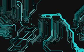 Картинка abstract, black, electronic, texture, blue, digital art, Circuit, dark background