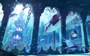 Картинка рыбы, фентези, океан, арт, девочка, makkou4