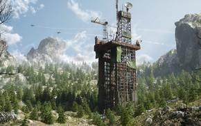 Картинка лес, горы, сооружение, Server Dust, Elevation