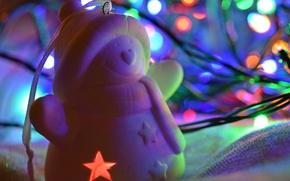 Картинка фон, праздник, игрушка, снеговик