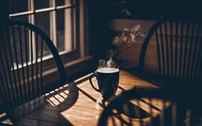 Обои кружка, пар, стол, чай, окно, кофе, дерево, тень, стул