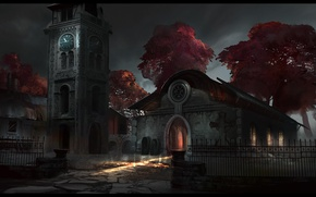 Картинка свет, деревья, дом, забор, часы, башня, гробы, dear lord