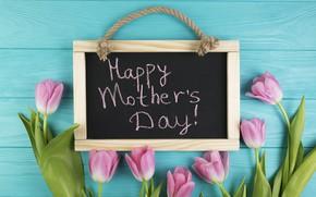 Картинка цветы, подарок, тюльпаны, доска, розовые, fresh, wood, pink, flowers, tulips, gift, spring, tender, mother's Day