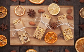 Картинка апельсин, печенье, орехи, пряности, анис, разделочная доска