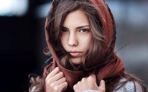 Картинка глаза, взгляд, девушка, шарф, платок, кареглазая, Janibek Bakyt, Жанибек Бакыт, Лея Кайназарова