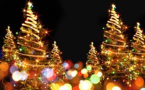 Картинка абстракция, фон, елка, Новый год, гирлянда, Christmas, боке, New Year