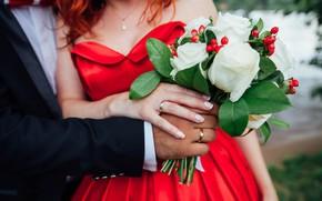 Обои девушка, фото, букет, кольца, руки, платье, мужчина, Nika Litus