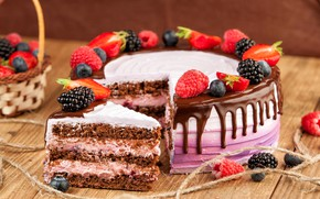 Картинка ягоды, малина, шоколад, клубника, торт, крем, ежевика, голубика