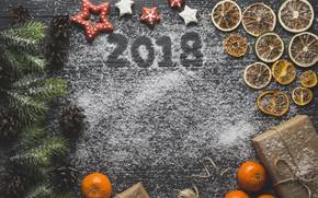 Картинка ель, печенье, подарки, мандарин, цыфры, сухой апельсин, новый год 2018