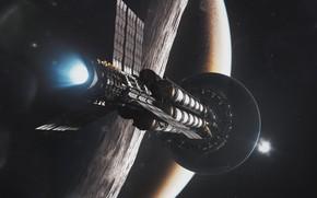 Картинка космос, планета, звёзды, аппарат, Kronos at Mars