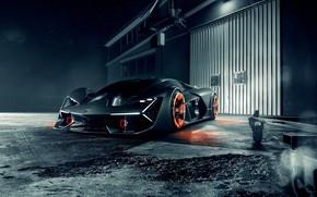 Обои Lamborghini, Front, Silver, Hypercar, Terzo Millennio