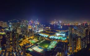 Картинка поле, город, спорт, Гонконг, Китай