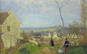 Картинка пейзаж, дом, люди, картина, Камиль Писсарро, Лувесьен с Мон-Валерьен на Заднем Плане