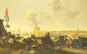 Картинка дерево, масло, картина, Хендрик де Мейер, Завоевание Города Хюлст Испанцами
