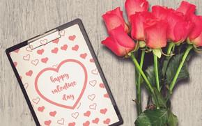 Картинка Цветы, Букет, Розы, Праздник, Открытка, День святого Валентина