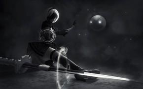 Картинка девушка, фантастика, черно-белое, косплей, NieR: Automata, YoRHa №2 тип B