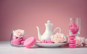 Обои цветы, розы, десерт, pink, flowers, пирожные, сладкое, sweet, dessert, roses, macaroon, french, macaron, макаруны