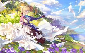 Картинка девушка, блондинка, письма, Violet Evergarden