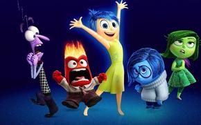 Картинка cinema, girl, dress, blue, man, movie, fear, film, animated film, happiness, anger, animated movie, Inside …