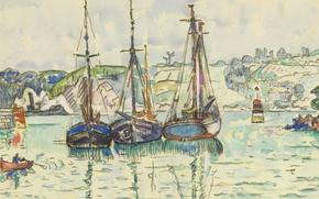 Картинка море, рисунок, акварель, гавань, Поль Синьяк, Три Лодки