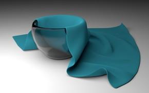 Картинка стекло, рендеринг, ваза, glass, rendering, vase, cloth, blender3d, блендер3d