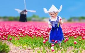 Картинка цветы, ребенок, шляпа, colorful, платье, девочка, тюльпаны, dress, fields, tulips, child, little girls