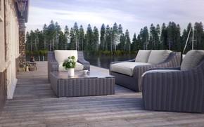 Картинка лес, мебель, букет, водоём, Rattan Furniture CGI