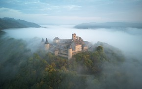Картинка Природа, Туман, Замок, Пейзаж