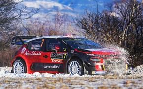 Картинка Зима, Авто, Снег, Спорт, Машина, Гонка, Ситроен, Citroen, Автомобиль, WRC, Rally, Ралли, Kris Meeke, Rallye …