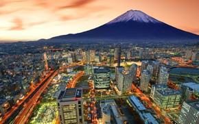 Картинка город, гора, вулкан, Япония, размытость, Фудзи, высотки, боке, Йокогама, Yokohama, travel, wallpaper., Fuji, my planet, …