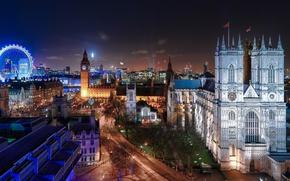 Обои город, Лондон, Англия, ночь, Великобритания, огни