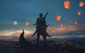 Обои Небо, Рисунок, Луна, Меч, Moon, Sky, Арт, Мужчина, Art, Man, Sword, Artist, Chinese lanterns, Художник, ...