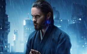 Обои Blade Runner 2049, Бегущий по лезвию, дождь, город, огни, Jared Leto, мужчина, фантастика